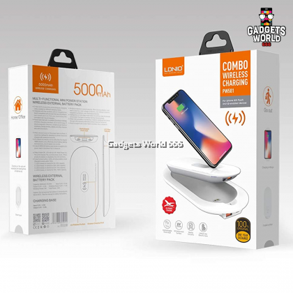 LDNIO PW501 5000mAh Multi-Functional Wireless Charging External Battery Power Bank Pack