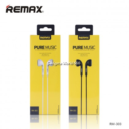 Remax RM-303 Pure Music Stereo Earphones With Mic High Fidelity Sound Universal 3.5mm Aux Jack