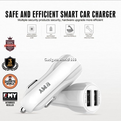 100% EMY Car Charger MY-131 (Auto ID) 3.4A Max (Iphone)