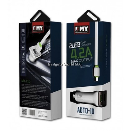 EMY USB Car Charger MY-115 4.2A Max Output with USB IP