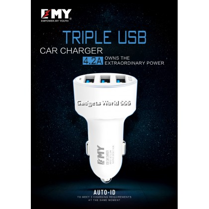 EMY Auto-ID 3 USB Car Charger 4.2A MY-117