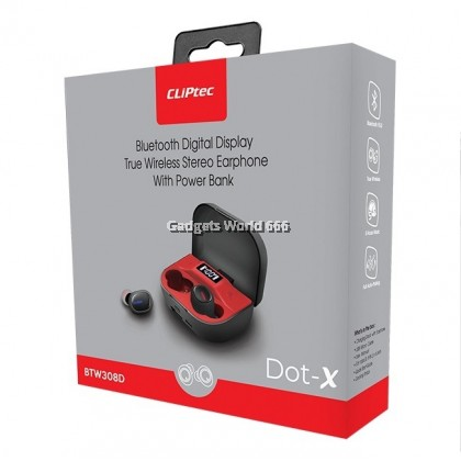 100% CLiPtec DOT-X Bluetooth Digital Display True Wireless Stereo Earphone With Power Bank BTW308D