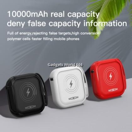 100% MOXOM 10000mAh 10w FAST WIRELESS POWER BANK 3.0A QC PD 3USB Port MX-PB20
