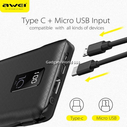 AWEI P8K 10000mAh LED Display Power Bank Fast Charging With Charging Cable Type-C ,Micro USB Port For All Kinds of Phone
