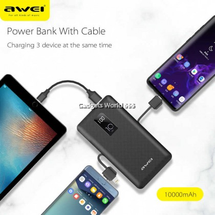 100% AWEI P8K 10000mAh LED Display Power Bank Fast Charging With Charging Cable Type-C ,Micro USB Port For All Kinds of Phone