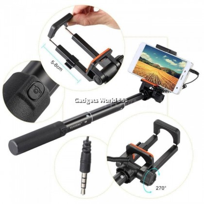 100% YUNTENG YT-808 Wired Cable Selfie Stick Monopod