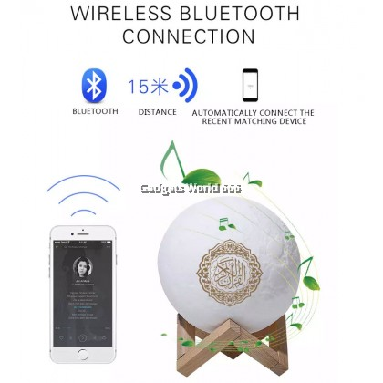 100% Wireless Bluetooth Speaker Quran Colorful Moonlight LED Light Moon Lamp Koran Reciter Muslim Speaker With remote control