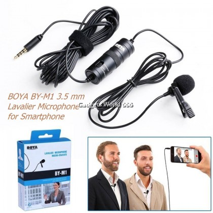 BOYA BY-M1 Lavalier Microphone Recording Clip Laptop Mic Omni Directional Condenser Mic Live Stream 3.5mm Plug