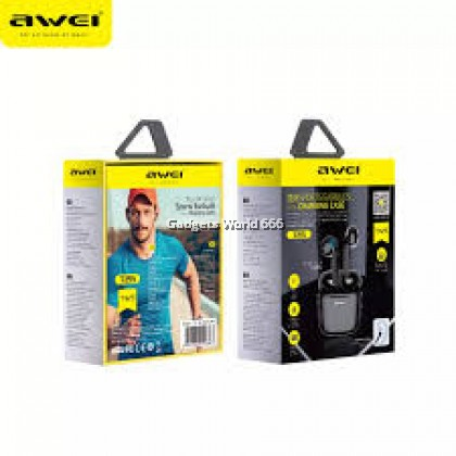 100% AWEI T26 TWS True Wireless Sports Earbuds with Charging Case Smart Touch Function Waterproof IPX4 Level Original AWEI