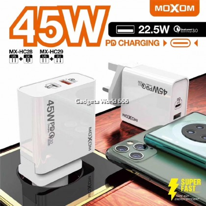 MOXOM MX-HC28 Dual Output 45AW PD Super Fast Charging Adapter Support with Qualcomm QC 3.0 (UK PLUG)