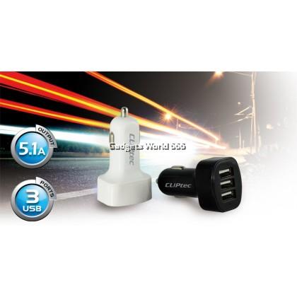 CLIPTEC GZU366 3 USB PORTS 5.1A CAR CHARGER
