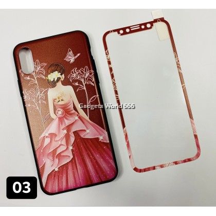 Phone Case Sets With Tempered Glass Iphone X Soft Silicone Scrub Case