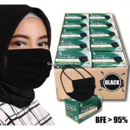 Face Mask  3ply Hijab Mask Head Loop Headloop Mask Adult Face Mask Black