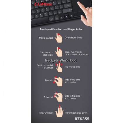 CLiPtec RZK355 SLIMTOUCH-AIR Ultra-Slim Wireless Keyboard with Touchpad & ON/OFF Button (Support Smart TV)